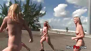 Sorority sisters are made to strip and are humiliated in