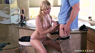 Balls deep fucking in the bathroom with adorable blonde Molly Bennett