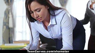 Horny Keisha Grey shows her submissive lesbian secretary who's boss