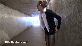 American amateur flasher Demona Dragons upskirt voyeur and public nudity of daring exhibitionist babe outdoors