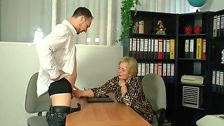 Blonde German Granny At Work