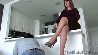 Bitch mistress Miss Zoe is face sitting and sucking hard dick of submissive man