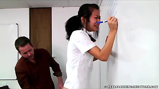 Schoolgirl strapped to tears