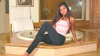 Horny cutie Amber Serrano takes off her clothes to play alone