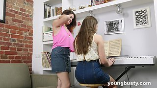 Gentle lesbian lovemaking between horny babes Erika C and Terry E