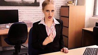 Naughty blonde secretary in stockings is aching for pleasure