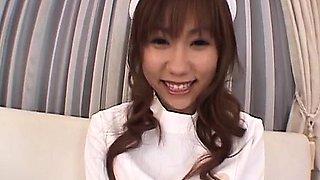Yurika Momose, Asian nurse, handles cock in her pussy