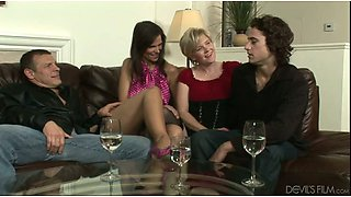 Two whorish chicks and two bisexual dudes having group sex fun