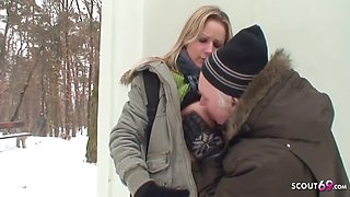Samantha Jolie - Old Guy Seduces Curvy Teen In Nylon To Fuck Outdoors In Snow