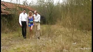 Blond bitch used outdoors