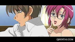 Hentai babe in glasses gets deep pounded