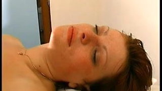 French redhead slut gets anal insertion in threesome