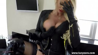 Blonde Milf slut Lucy Zara big boobs masturbates in black panties leather gloves and boots