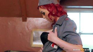 1942, Crazy hot redhead nurse seduces European Sergean Danny right in the hospital
