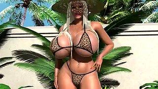 Blonde bimbo by the pool