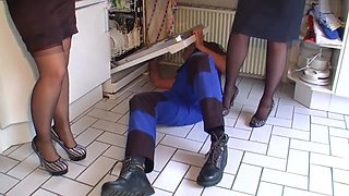 plumber gets fucked by 2 milf in nylon stockings