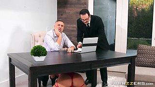 slutty blonde sucks dick during a business meeting