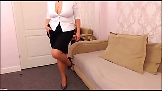 Thick legs redhead sexy big tits milf in nylons