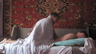 Quick teen shag on the bed