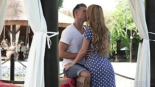 Russian ginger babe Kaisa Nord is making love in the garden with her new boyfriend