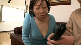 Wild Japanese granny gets her fiery pussy toyed and fucked