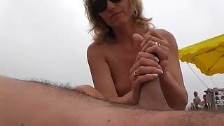 naomi1 footjob and handjob on a beach
