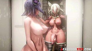 3D futa babes sucking big dick nicely