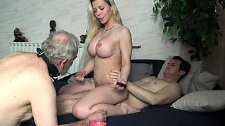 slutty cuckold wife dominate her hubby in front of lover