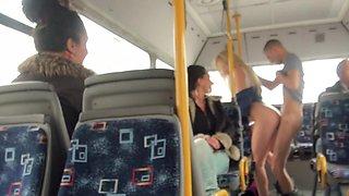 Petite blonde babe Lindsey Olsen gets rammed in public bus