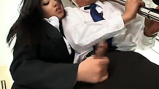 Asian Hot Handjob in Bus