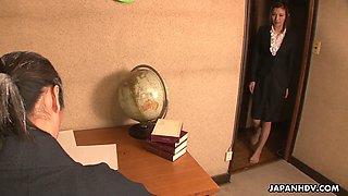 Beautiful personal Japanese secretary Mai Kuroki gets nailed in standing pose