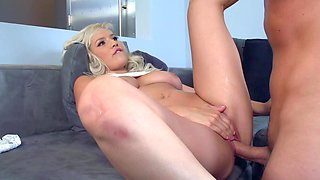 Blonde cutie with a beautiful face gets rammed for some cash