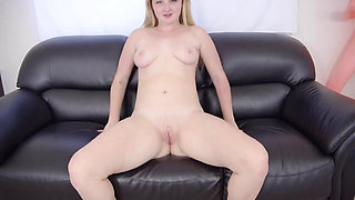 Big Ass Blonde Teen Eliza Eats Ass and Fucked Hard On a Black Couch