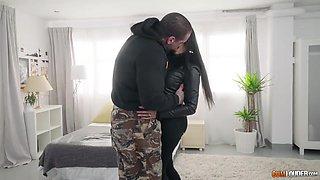Uruguayan milf Katrina Moreno hooks up with one brutal tattooed man