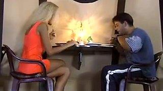 Husband watching wife gangbanged in restaurant