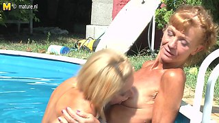 Horny Old And Young Lesbians Make Out At The Pool - MatureNL