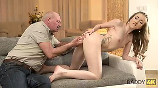 DADDY4K. Cutie lets BFs old daddy penetrate her pussy on the couch