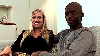 Wild blonde receives a black cock