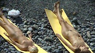Undressed Beach - Golden-Haired & Brunette Hair on the Rocks
