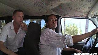 Amateur Latina Bianca and guys from the Bang Bus