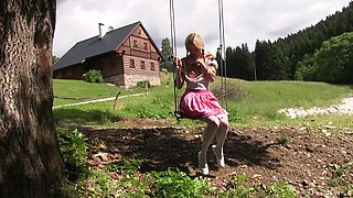 German hottie finger fucks in the outdoor for a superb solo play