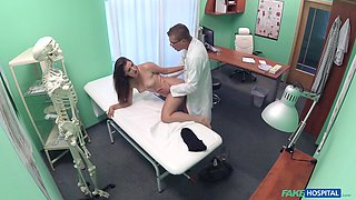 Fucking on the hospital bed between a doctor and sexy Cindy Loarn