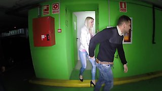 Guy penetrates cute blonde with small butt and cums over face