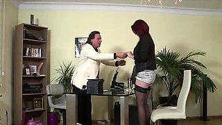 Secretary earns her job with a great hidden bj
