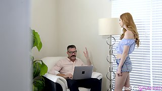 Redhead gets spanked and fucked by her stepdad