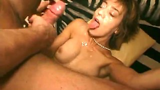 Slutty babes take loads of cum on their faces